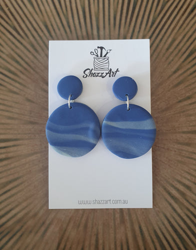 Navy Swirl Studs - Shazz Art