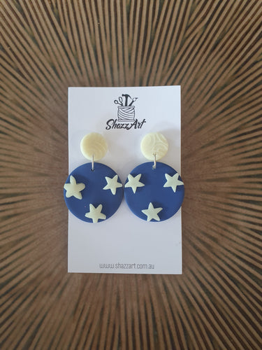 Round Glow in the Dark Star Earrings - Shazz Art