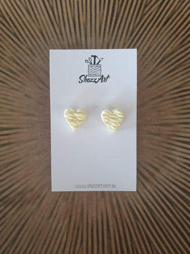 Twisted Texture Heart Studs