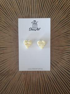 Twisted Texture Heart Studs - Shazz Art