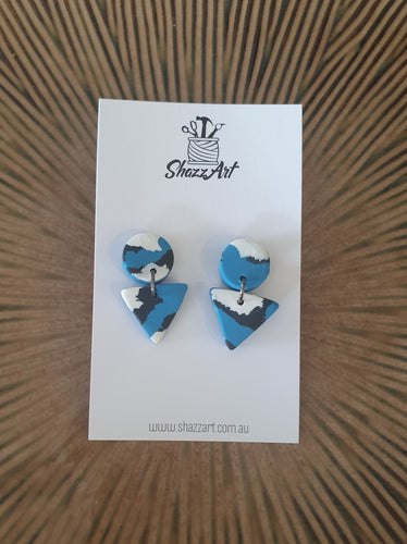 Mini Blue Print Stud Dangles - Shazz Art