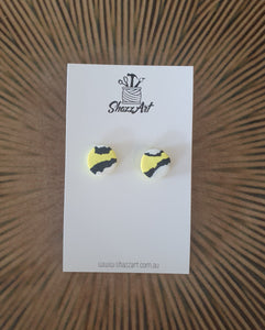 Yellow Print 12mm Studs - Shazz Art