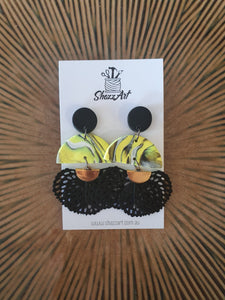 Yellow and Black Statement Studs - Shazz Art