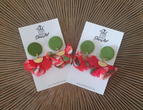 Green and Red Tassel Earrings - Shazz Art
