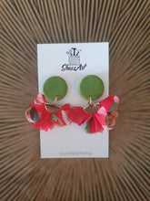 Load image into Gallery viewer, Green and Red Tassel Earrings - Shazz Art