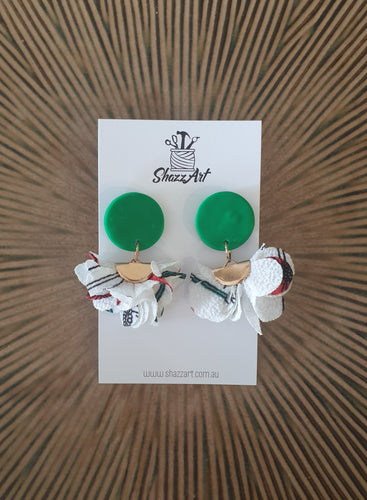 Green and White Tassel Earrings - Shazz Art
