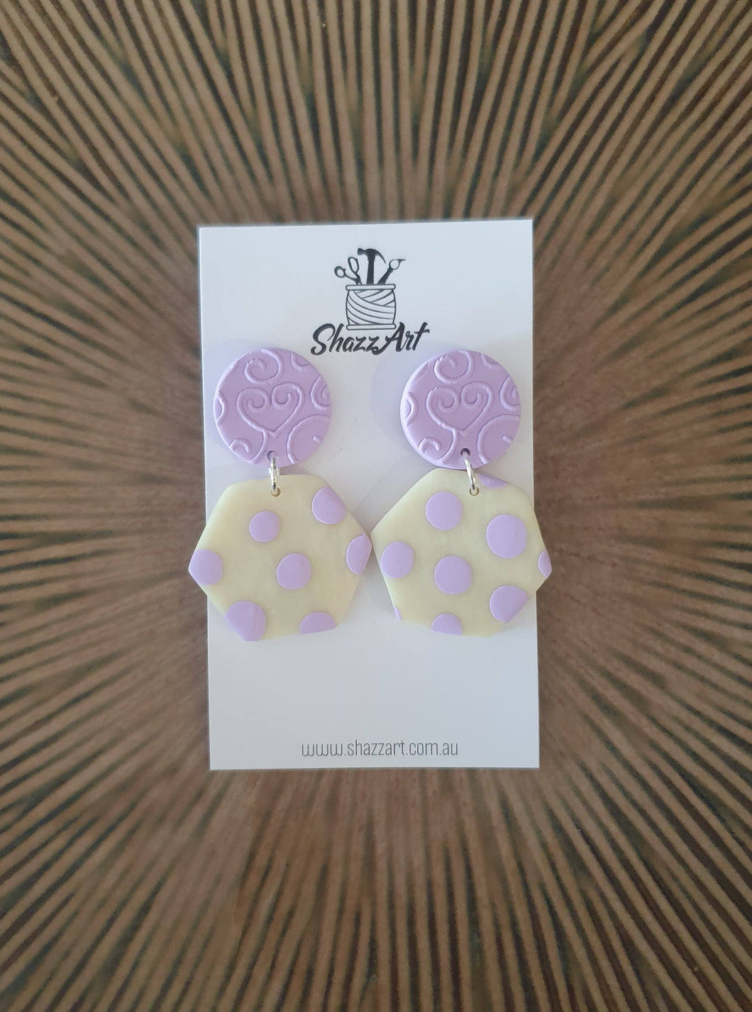 Lilac Polka Dot Earrings - Shazz Art