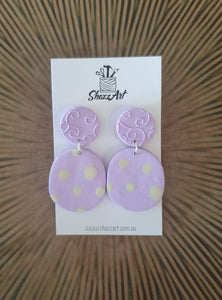 Lilac Polka Dot Statement Earrings - Shazz Art