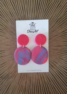 Pink and Purple Statement Earrings - Shazz Art