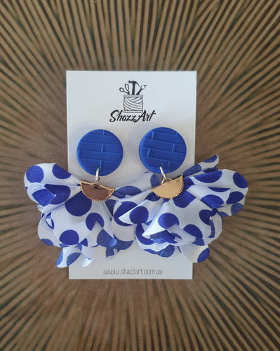 Blue Polka Dot Jumbo Tassel Earrings - Shazz Art