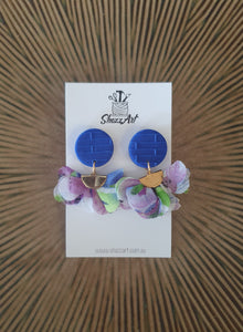 Blue and Purple Tassel Earrings - Shazz Art