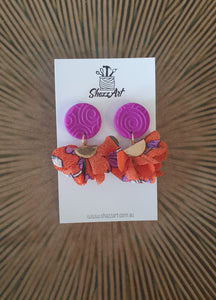 Purple and Orange Tassel Studs - Shazz Art