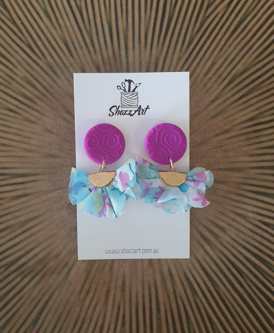 Purple and Blue Tassel Studs - Shazz Art