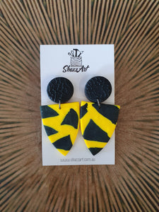 Black and Yellow Statement Earrings - Shazz Art