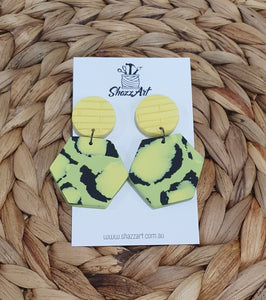 Green and Yellow Animal Print Studs - Shazz Art