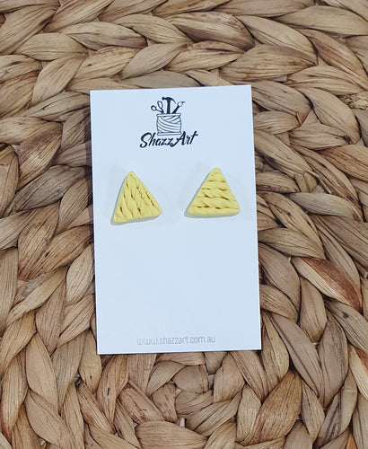 Twisted Yellow Triangle Studs