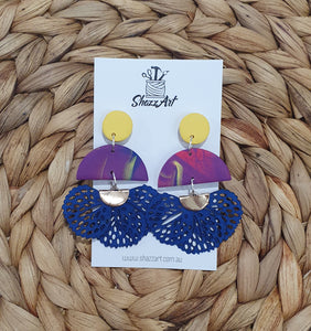 Blue Lace Tassel Studs - Shazz Art