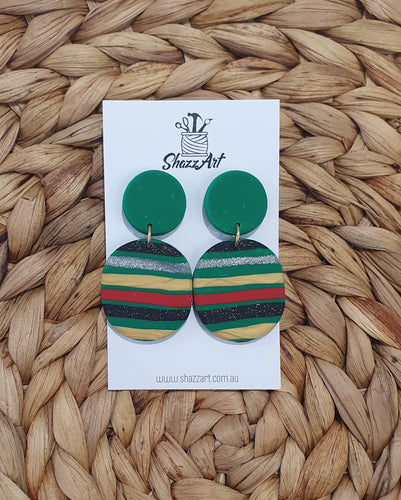 Christmas Stripe Dangle Studs - Shazz Art