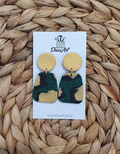 Gold and Green Statement Studs - Shazz Art