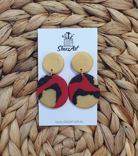Gold and Red Statement Studs - Shazz Art