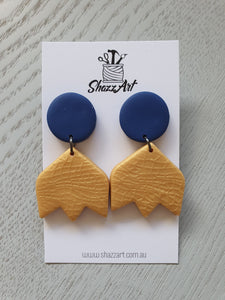 Navy and Gold Statement Studs - Shazz Art