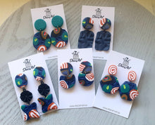 Load image into Gallery viewer, Navy Winter Stud Dangles - Shazz Art