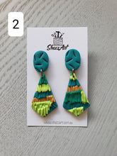 Load image into Gallery viewer, Green Pinàta Stud Dangles - Shazz Art