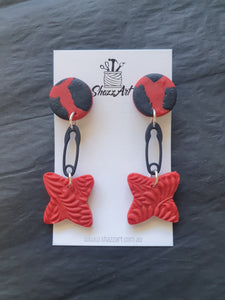 Red Safety Pin Dangles - Shazz Art