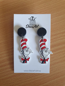 Cat in the Hat Statement Studs - Shazz Art