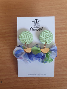 Green and Blue Ruffle Studs - Shazz Art