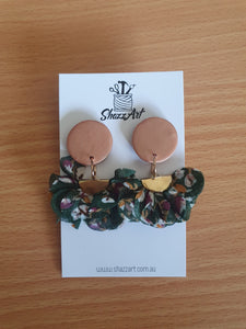 Rose Gold and Green Ruffle Studs - Shazz Art