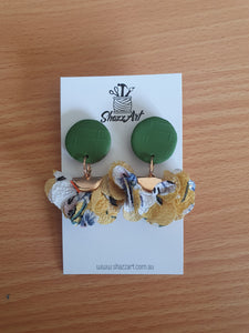 Green and Mustard Ruffle Studs - Shazz Art