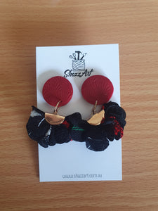 Red and Black Ruffle Studs - Shazz Art