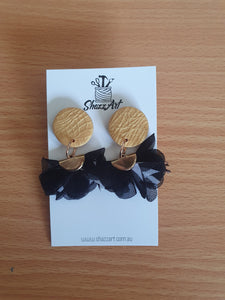 Gold and Black Ruffle Studs - Shazz Art