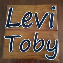 Load image into Gallery viewer, Personalised Children Name Signs - Navy and White - Shazz Art