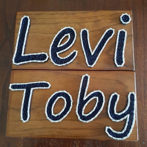 Personalised Children Name Signs - Navy and White - Shazz Art