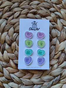 Rude Candy Heart Studs - Shazz Art