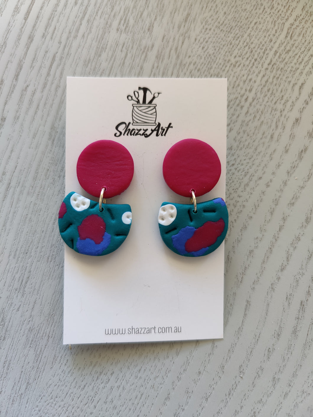 Dark Pink and Teal Studs - Shazz Art
