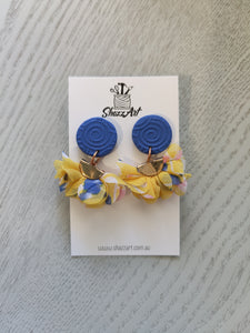 Yellow and Blue Ruffle Studs - Shazz Art