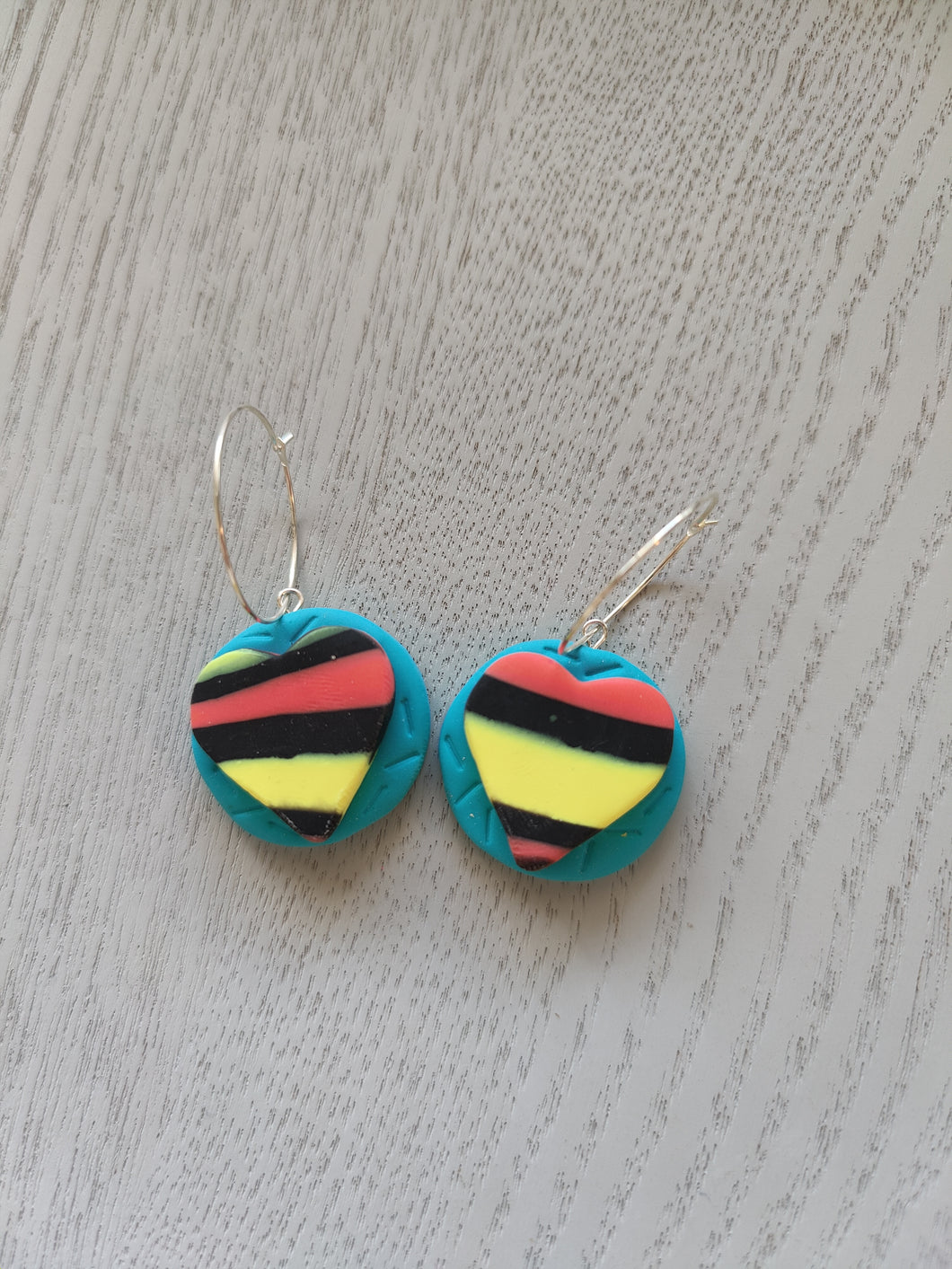 Retro Heart Hoop Earrings - Shazz Art