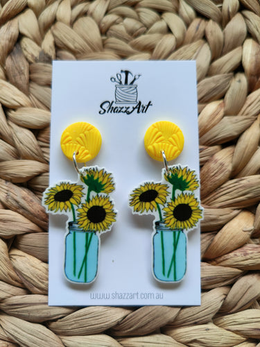 Sunflower Vase Earrings