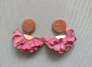 Pink and Rose Gold Ruffle Studs