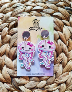 Pink Jellyfish Earrings