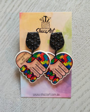 Load image into Gallery viewer, Autism Awareness Heart Earrings