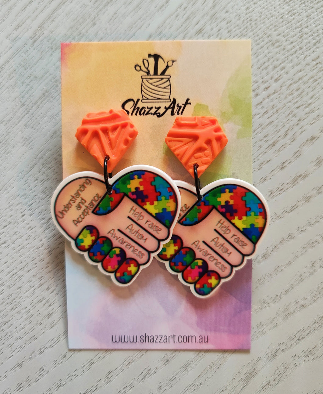 Autism Awareness Heart Earrings