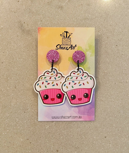 Pink Kawaii Cupcake Earrings