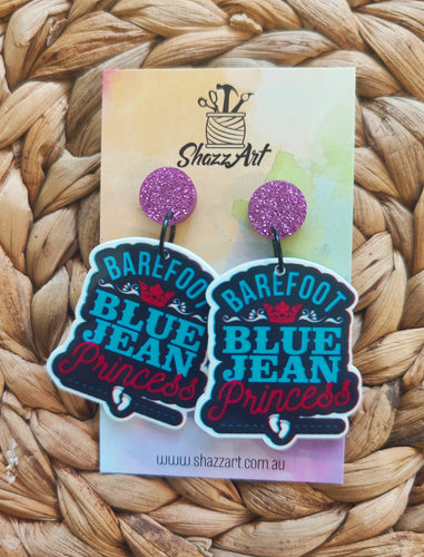 Blue Jean Princess Earrings