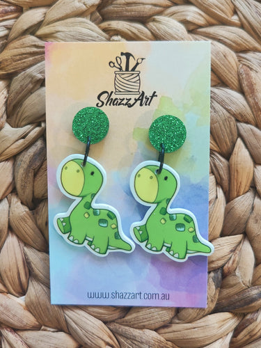 Green Brontosaurus Dinosaur Earrings