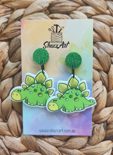 Green Stegosaurus Dinosaur Earrings