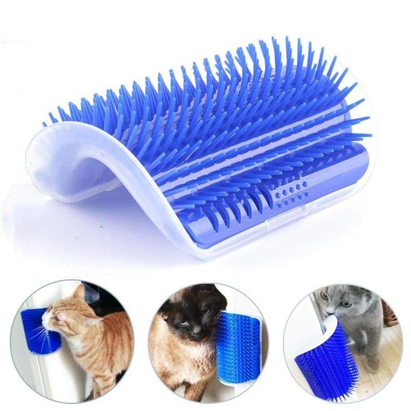 Hirundo Cat Self Grooming Brush Perfect Massager Tool for Cats - Blue/Gray